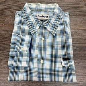 Barbour White Green & Blue Plaid Shirt L